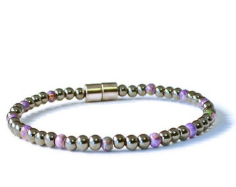 Black/Purple Magnetic Hematite Pain Relief Bracelet, Health Jewelry