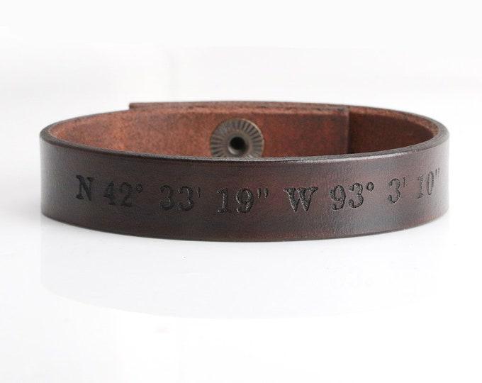 GPS Coordinates Bracelet, Latitude Longitude GPS Coordinates, Coordinate Bracelet, Memorial Bracelet, Mens Personalized Leather Bracelet