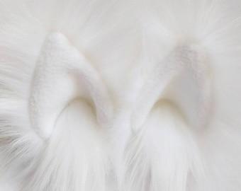 White animal ear hair clips with white fleece clip on cat ears, cat ear hair clips