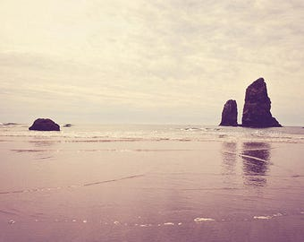 photography, beach landscape Haystack Rock Needles moody Sea Oregon Pacific Northwest, Cannon Beach seascape water reflection, peach, travel