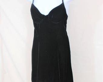 Vtg Bustier Velvet Black Slip Dress   Size Small / Medium