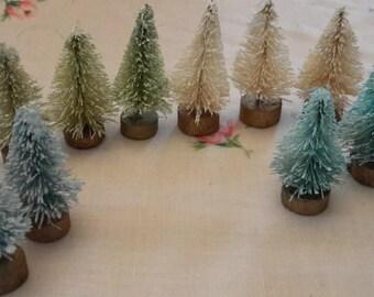 "12 pc set tiny mini bottle brush trees 1 1/2"" AQUA BLUE CREAM green decoration vintage style teeny"