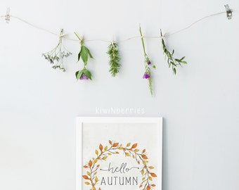 Fall wreath print -  Autumn decor - Fall Printables  - Fall Wall Art - Autumn Print - Fall decor -  Ochre amber - Hello Autumn fall