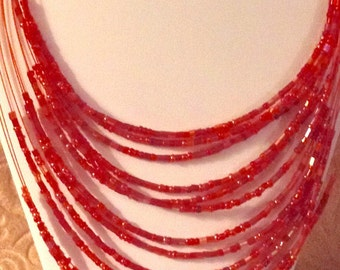 """16"""" Multistranded Red Seedbeaded Necklace w/a 2"""" extender"""