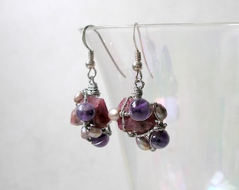 Garnet Earrings Natural Crystals Asymmetrical Wire Wrapped Amethyst Freshwater Pearls Birthstone Jewelry Metaphysical Healing Stones