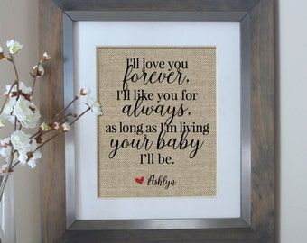 I'll Love You Forever Burlap Print | Mothers Day from Daughter | Wedding Gift for Parents of the Bride | Gift for Mom | Mother of the Bride