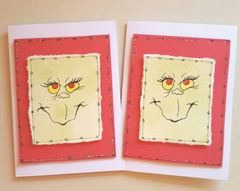 grinch christmas cards-hand painted