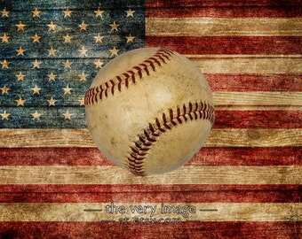 Boys Room Decor, Vintage Baseball Decor US Flag Photo Man Cave Gifts for Boys Gifts for Men Wall Art #vi102