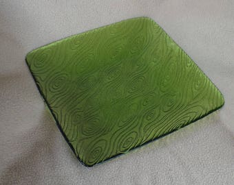 Green Glass Retro Tray or Serving Dish or Platter