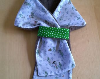 Green polka dots and fall pattern and fleece reversible scarf Brown - fall Collection