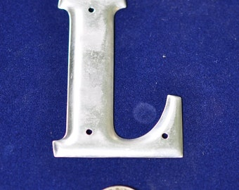 One Vintage Three-Inch Aluminum Letter L SHIPPING INCLUDED
