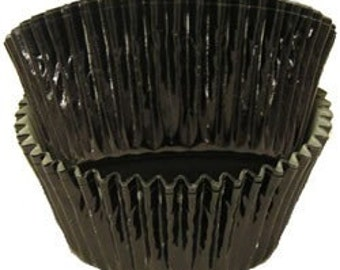100 Black Foil Liners, Graduation Cupcake Liners, Wedding Cupcake Liners, Paper Goods, Black Cupcake Liners, Lined and Greaseproof