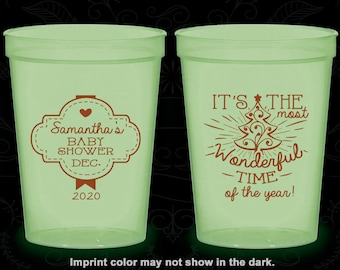 Christmas Baby Shower, Glow in the Dark Baby Shower Cups, Xmas Baby Shower, Holiday Baby Shower, Glow Baby Shower Party (90190)