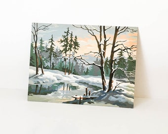 Paint by Number Winter Scene - PBN Landscape - Vintage PBN Snowy scene - Vintage paint by number - Oil painting Landscape