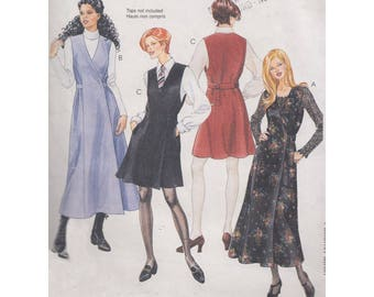 Vintage 1995 Easy to Sew Side Wrap Jumper in 2 Lengths McCalls 7880 Uncut Sewing Pattern Size 12-16 Bust 34-38 Closure Variations