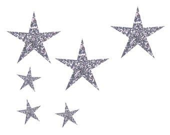 12 iron on glitter stars