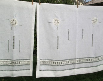 Linen and lace hemstitched, linen curtain with insertion crocheted lace, sheer hand crafted, needlecraft