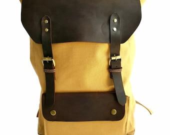 Canvas + Buffalo Leather Backpack