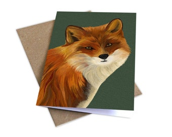 Fox Illustrated Greetings Card, Any Occasion Card, Blank inside, Wildlife Drawings, Bright & Colourful Card, Colourful Fox Illustration