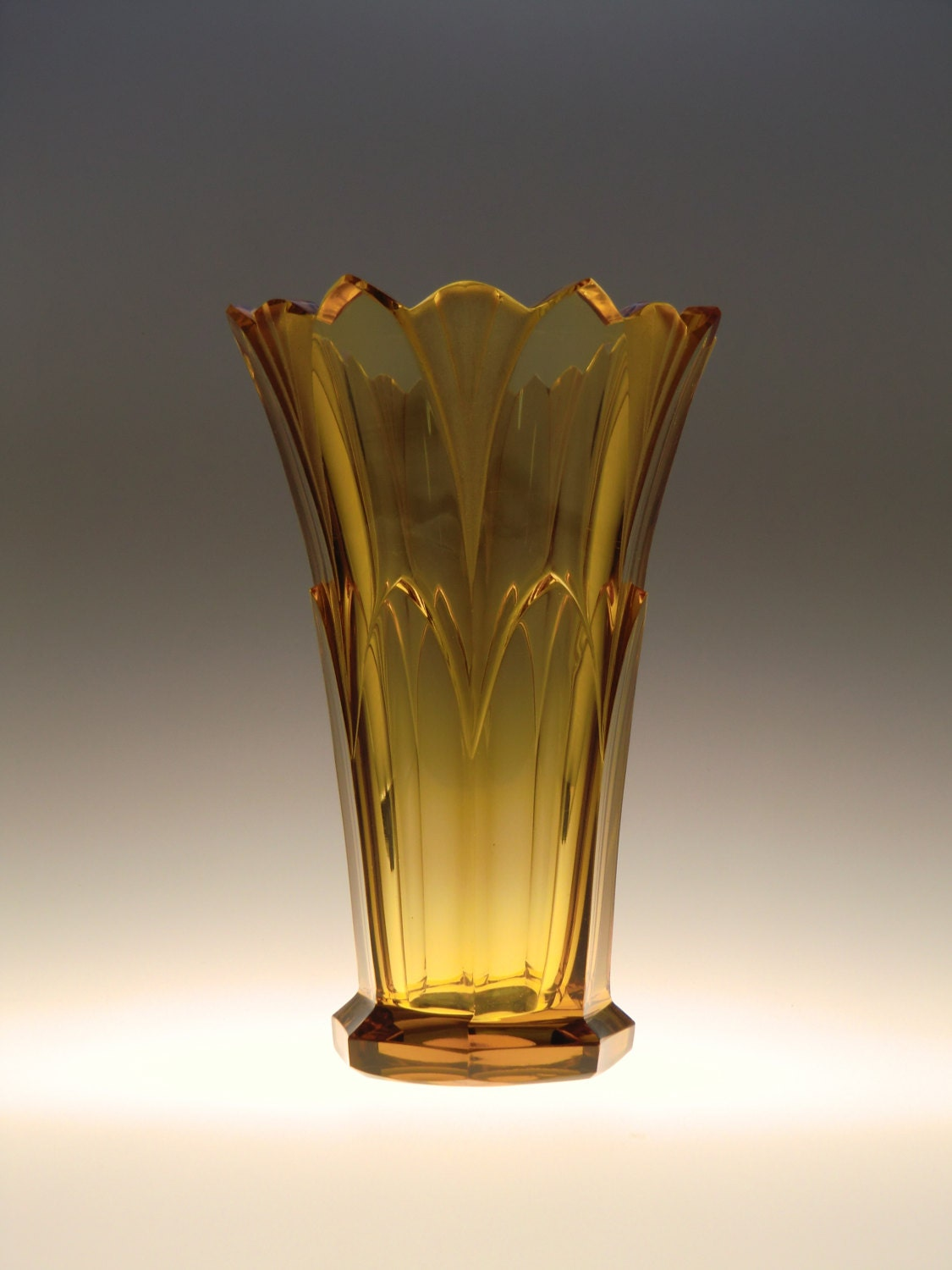 Bohemian czech rudolf hlousek art deco cut amber glass vase zoom floridaeventfo Image collections