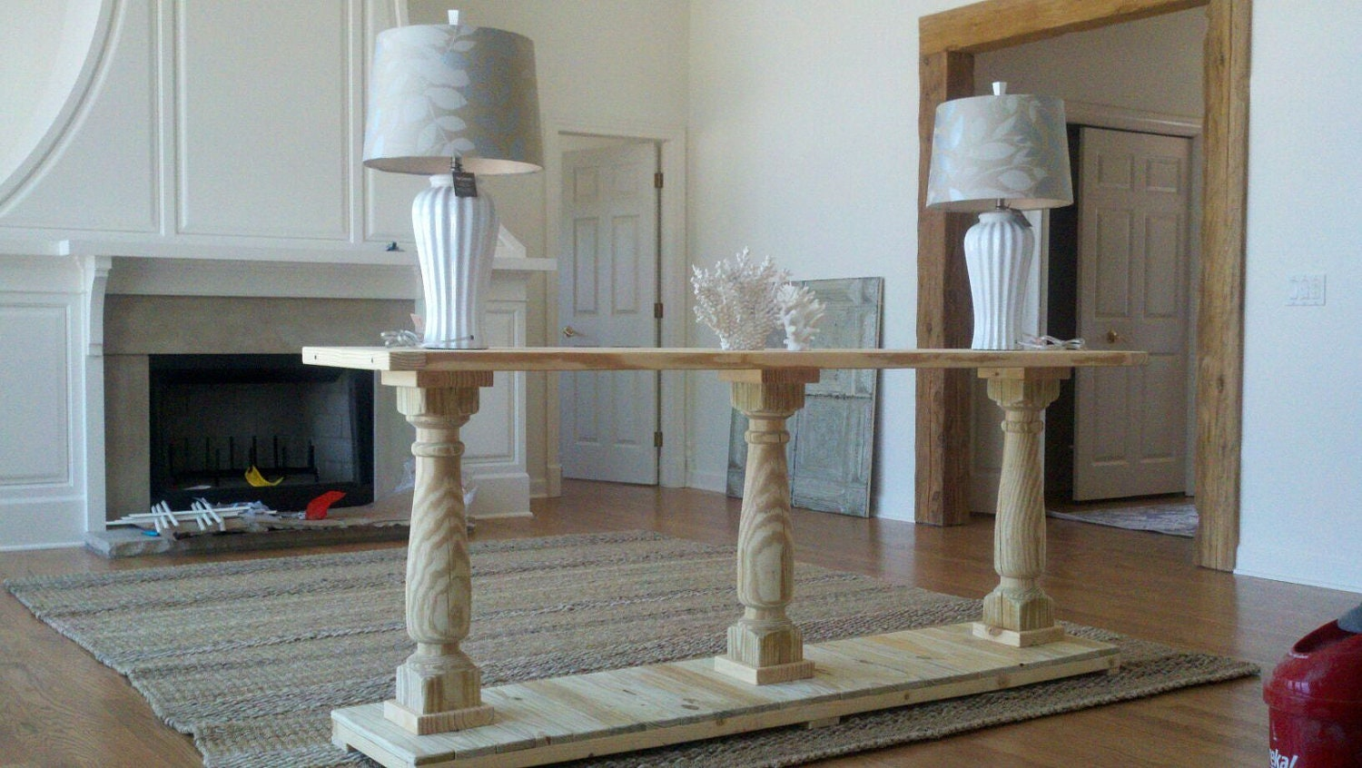 Nice Console Table Handcrafted Unfinished With 3 Balustrade Legs