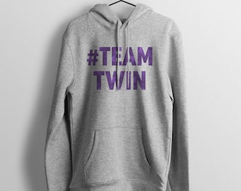 TEAM TWIN Bold Hoodie - Unisex Fit - Gifts for Twins