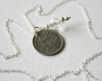 Lucky Sixpence Charm Necklace 1948