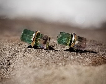 Watermelon Tourmaline Earrings Tourmaline Crystal Studs Tourmaline Stud Earrings Womens Gift Stud Earring Raw Tourmaline Raw Crystal Jewelry