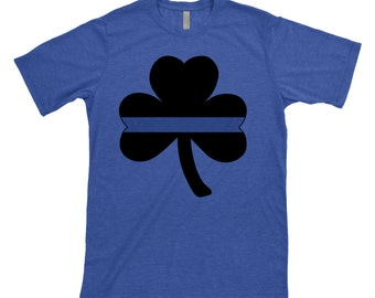 Thin Blue Line - Shamrock - Clover - Police - Policemen - Officer - Back the Blue - Irish - Cop - St Patricks Day - shirt