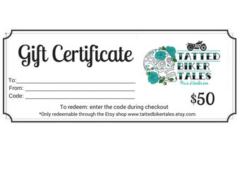 Tatted Biker Tales Printable Gift Certificate, Gift Card, Voucher, Gift, Present