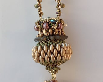Lizabeth Beaded Ball Necklace PDF Tutorial with super duos, drops, rivoli and beaded chain