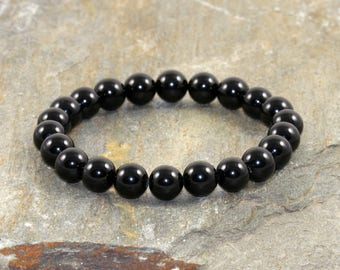 AAA Grade Black Tourmaline Bracelet, Tourmaline Jewelry, EMF Protection Bracelet, Anxiety Relief, Healing Energy, Purification & Grounding