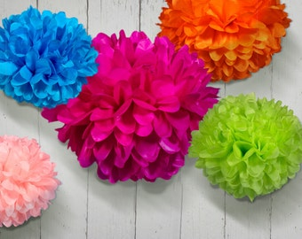 Tissue Paper Pom Poms - Set of 5 - Cinco de Mayo//Decorations//Parties Decor//Birthday's Decor//Mexican Decor