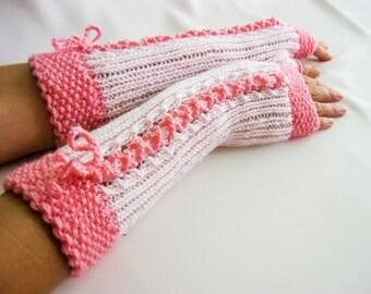 SALE Pink Fingerless Gloves, Merino Wool Mittens, Women Arm Warmers , Hand Knitted, Eco Friendly