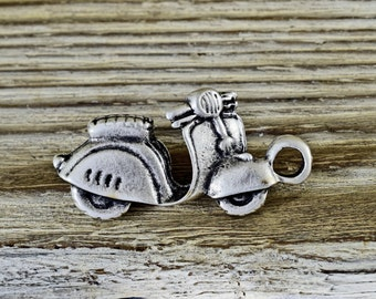 Large Bike Charm Pendant 20x42mm, Silver Motorcycle Charm, Biker Charms, Antique silver tone 3D Bike Pendant, Vespa Scooter Charm