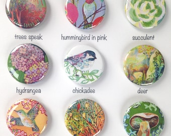 Nature Art Pin Back Button Flair, choose from 9 designs, 1.25 in, by Jenlo