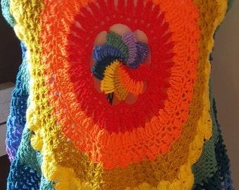 Circle vest, mandala crochet vest, pixie vest, hippie vest, mandala vest, festival waistcoat, mandala waistcoat, sweater vest