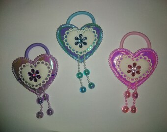 Cute Heart Ponytail holder/band Set of 3