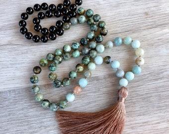 Shore Break Mala ~ Amazonite, Turquoise africaine & obsidienne ~ 108 perles, à la main nouée, pompon collier, chakra, collier d'yoga, la méditation bea