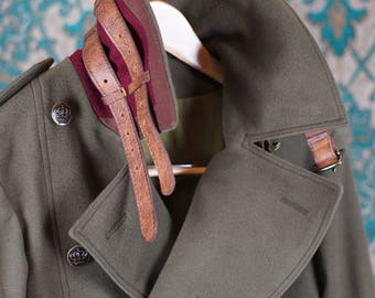 Olive Wool Greatcoats----With Waxed Leather Detailing