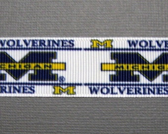 "Sale! MICHIGAN WOLVERINES 7/8"" Grosgrain Craft Ribbon - 3-Yard Length"