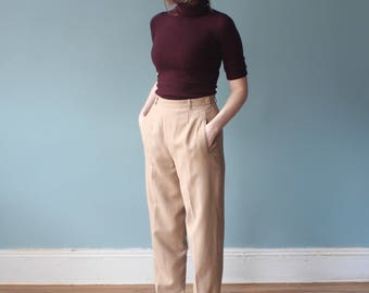 SALE high waist trousers | high waisted camel pants | 1990s small