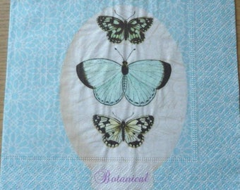 Butterfly botanical paper napkin