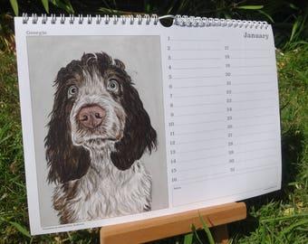 Dog Perpetual Birthday Calendar - Dog gift for dog lovers - Dog Birthday Calendar - Anniversary Calendar - Dog Calendar - Dog Paintings