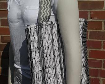 Handwoven Gray Tote Bag with Gray Chevron Handles