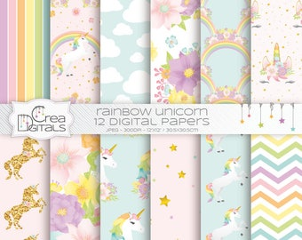 Unicorn pastel rainbow papers - gold glitter unicorn pattern - floral unicorn - 12 digital paper pack - INSTANT DOWNLOAD
