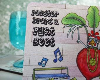 Hip Hop Coaster Drops a Phat Beet Pun Silly Boom Box Street Beats Music 4x4