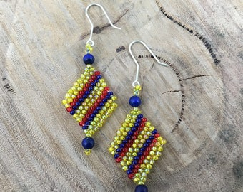 Yellow with red and blue diagonal stripes diamond-shaped dangle earrings, bead woven with blue beads and 925 sterling silver hooks