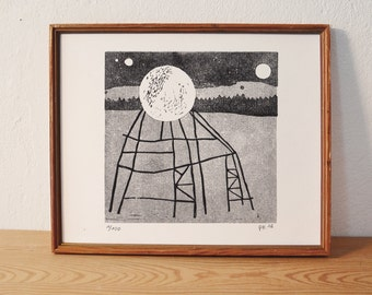 moon construction · original linocut · Limited Edition · DIN A4