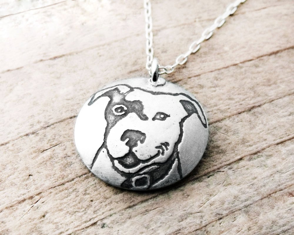 Smiling pit bull necklace in silver pit bull jewelry zoom aloadofball Gallery